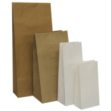 76x57x229mm White Block Bottom Paper Bags